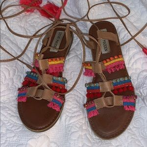 Summer Grecian Tie Up Colorful Sandals 7.5